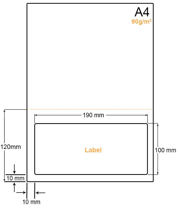 A4 Papier met een grote etiket en een perforatielijn