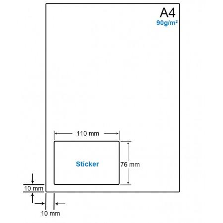 A4 Papier met 1 etiket - WS4901A