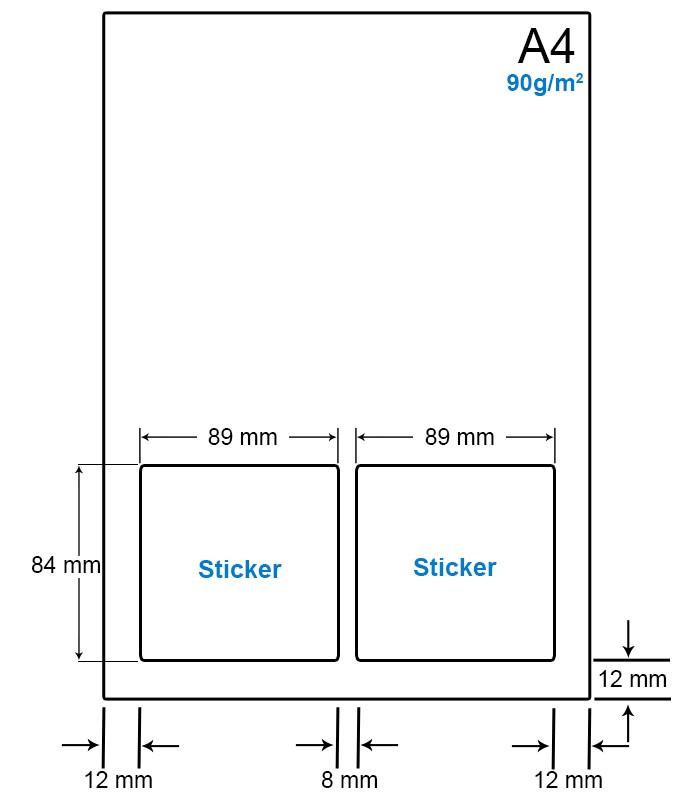 A4 Papier met 2 etiketten - WS4902A
